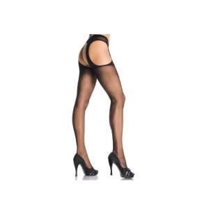 Sheer suspender pantyhose plus